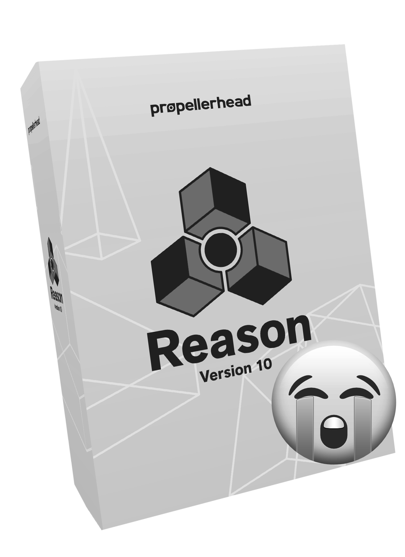 Propellerhead Reason 10 Box Cover Image In B&W With Crying Emoji
